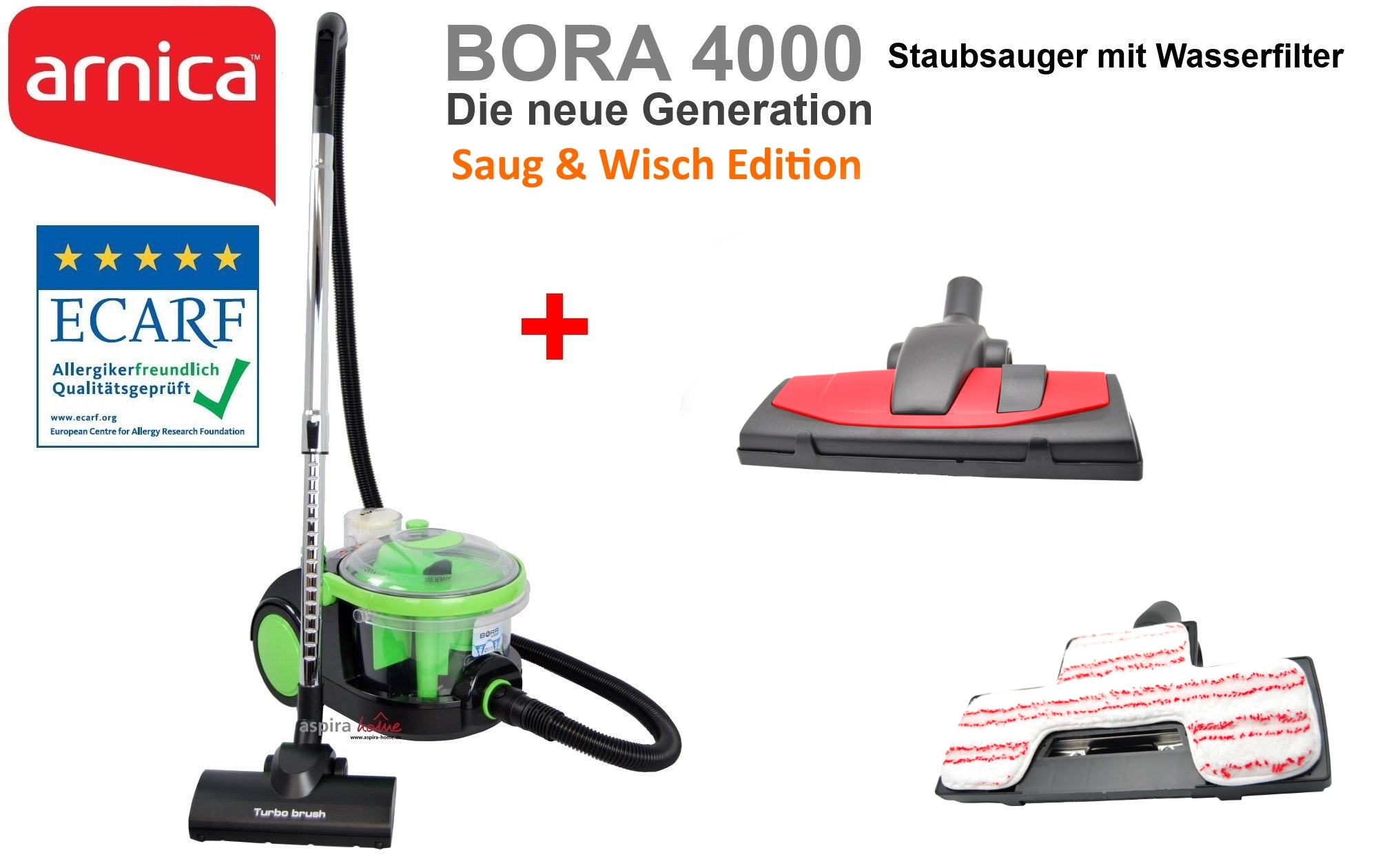 arnica bora 4000 saug wisch edition wasserstaubsauger staubsauger mit wasserfilter s. Black Bedroom Furniture Sets. Home Design Ideas