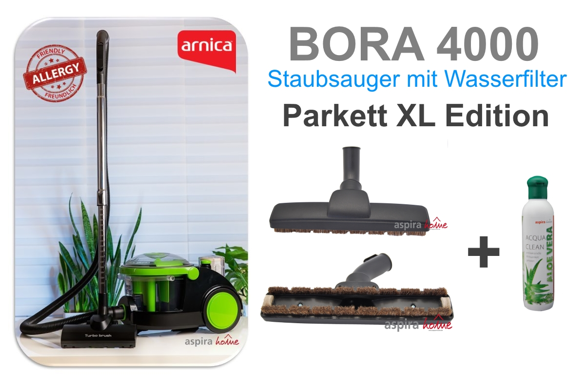 arnica bora 4000 parkett xl edition wasserstaubsauger staubsauger mit wasserfilter bora. Black Bedroom Furniture Sets. Home Design Ideas